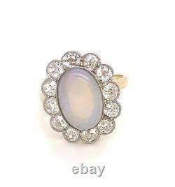 Original Art Deco French Opal Old Mine Cut Diamonds 18K Yellow Gold Ring