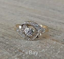 Original Vintage Estate Art Deco Natural. 40 C, G, VS Diamond Solid Wedding Ring