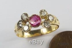 PRETTY ANTIQUE ENGLISH 18K GOLD RUBY & DIAMOND RING c1820