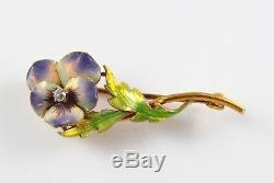 Petite 14k Gold Art Nouveau Krementz Enamel & Diamond Pansy Flower Brooch Pin