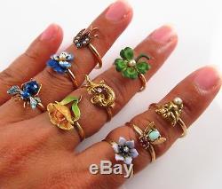 Petite Antique 14k Gold Art Nouveau Enamel & Pearl Pansy Flower Ring Size 7.5
