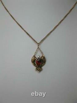 Phoenix Griffin Dragon Citrine Pendant Necklace Antique 14K c1890 Belle Epoque