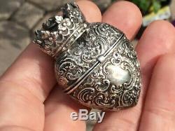 RARE Antique Victorian Sterling Silver Heart & Crown vinaigrette locket Pendant