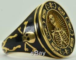 RARE Victorian Memento Mori Skull Skeleton ornate 9k Gold&Black Enamel mens ring