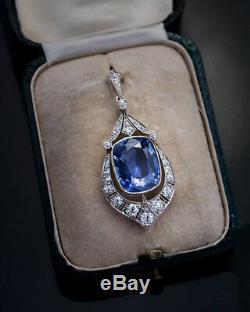 Rare 12.47 Ct Ceylon Sapphire Diamond Vintage Art Deco Pendant