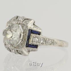 Rare 2 Ct Diamond Vintage Edwardian Antique Engagement Art Deco Ring Circa 1925