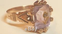 Rare Antique 14k Rose Gold Amethyst & Diamond Ring Victorian Edwardian Art Deco