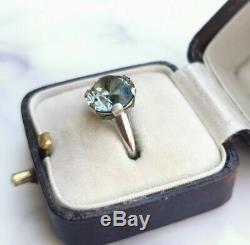 Rare Antique Art Deco 15ct White Gold, Platinum And Natural Blue Zircon Ring