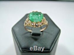 Rare Antique Georgian 18CT Gold Large Cabochon Emerald & Diamond Ring Circa 1820