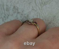 Rare Early Georgian 18ct Gold Table Cut Diamond & Ruby Ring c1770 d0389