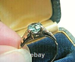 Rarest Antique Ostby Barton 10k Yellow Gold Blue Zircon Ring Sz 6 Ob