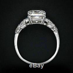 Retro Antique Art Deco Engagement Sapphire Ring 14K White Gold Fn 3.2 CT Diamond
