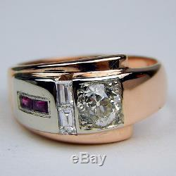 Retro Art Diamond & Ruby Ring 14 kt Rose & White Gold c. 1940's Size 7 #A1248