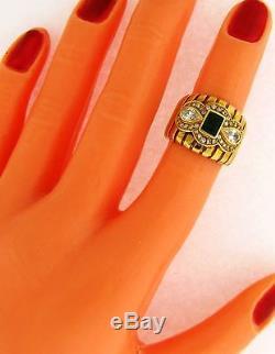 Retro Vintage Cigar Band Diamond Emerald 18k Yellow Gold Ring