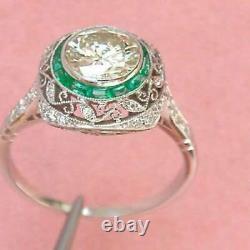 Retro Vintage Wedding Ring Green Sapphire Ring 3 Ct Diamond 14k White Gold Over
