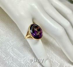 Rose Cut Diamond Amethyst Intaglio Ring Thistle or Rose of Sharon 18K Victorian