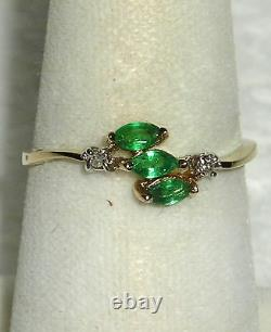 SOLID 14K Gold EMERALD Diamond Cluster Ring