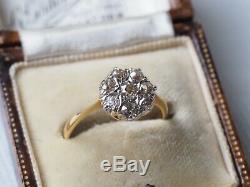 SUPERB DECO 1930's DIAMOND CLUSTER DAISY RING 18CT PLATINUM