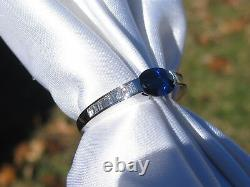 Sapphire Diamond Ring 18K White Gold Contemporary Baguette G/VS Modern Fine