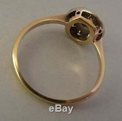 Sparkly Antique Edwardian Platinum, 18ct Gold And Diamond Cluster Ring