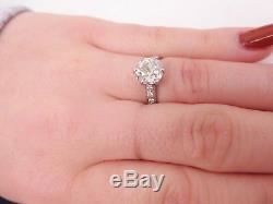 Stunning 3 carat old cut diamond solitaire platinum ring