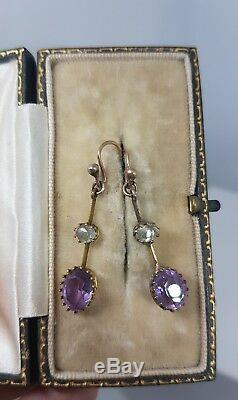 Stunning Antique Aquamarine and Amethyst Drop Earrings Yellow Gold