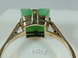 Stunning Antique Art Deco 9ct Yellow Gold Jade Plaque Ring Circa 1930's