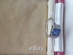 Stunning Antique Art Deco Rare Platinum Diamond And Ceylon Blue Sapphire Ring