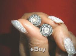 Stunning Antique Genuine 1 Ct Old Rose Cut Diamond Stud 14k Earrings