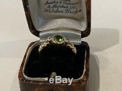 Stunning Art Deco 1920s Peridot & Diamond 18ct Gold Suffragette Ring