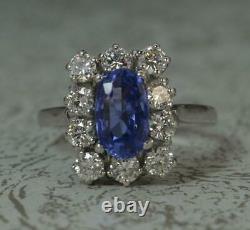 Stunning French 18ct White Gold Ceylon Sapphire & 1ct Diamond Cluster Ring d0319