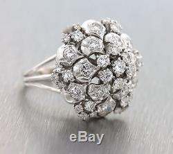 Stunning Ladies Retro 1950's Solid 14K White Gold 2.25ctw Diamond Cocktail Ring