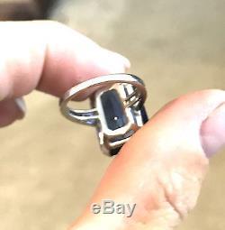 Stunning Platinum Art Deco 16.5ct Sapphire Diamond Ring 7.6gms Sz 4.25