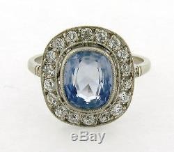 Stunning Vintage 3.12 Ceylon Sapphire Diamond Platinum Ring