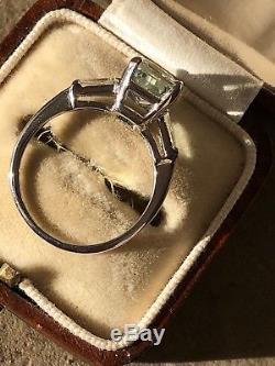 Stunning Vintage Aquamarine And Diamond Platinum Ring art Deco