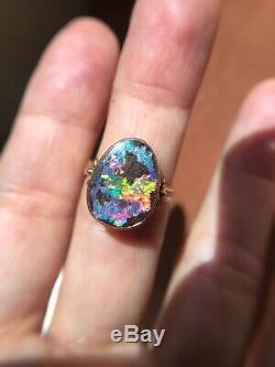 Stunning australian boulder opal ring 14 k gold antique vintage crystal estate