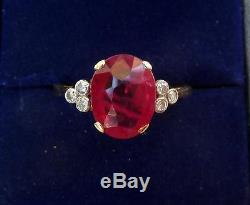 Stunning big 18ct gold and white gold art deco 3ct Ruby and Diamond ring