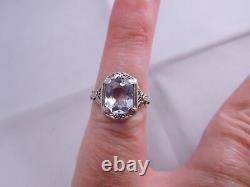 Super Art Deco 14k Solid White Gold Filigree Aquamarine Stone Ring