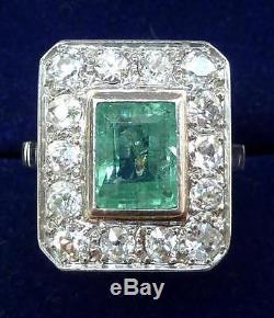 Superb platinum art deco 1.50ct Emerald and Diamond cluster ring