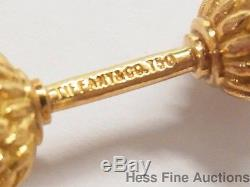 Tiffany Co. 18k Gold Schlumberger Hematite Acorn Vintage Cufflink Stud Set wBox