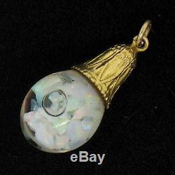 UNIQUE Antique 14K Yellow Gold Floating Opal Piece Glass Bulb Ball Charm Pendant