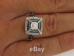 Unique Antique Art Deco. 82C H Color VS Clarity Diamond Sapphires Plat Ring