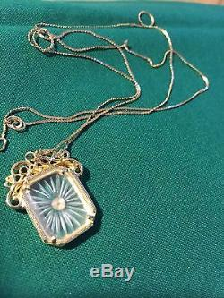 VICTORIAN ART DECO Gold 595 14k CAMPHOR GLASS NECKLACE Grandmas Estate 30 (fl)
