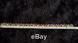 VINTAGE 14k YELLOW GOLD DOUBLE LINK STARTER CHARM BRACELET 16 GRAMS