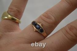 VINTAGE 1940s ART DECO gold and sapphire 3 stone ring size K