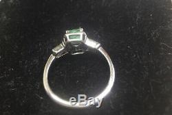 VINTAGE ANTIQUE ESTATE 14k GOLD COLOMBIAN EMERALD DIAMOND RING SZ 7.5