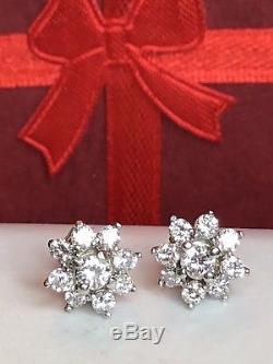 VINTAGE ESTATE 14K WHITE GOLD GENUINE NATURAL DIAMOND EARRINGS FLOWERS studs