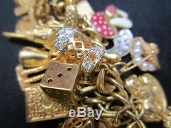 VINTAGE, OLD STYLE, GOLD CHARM BRACELET w 66 GOLD CHARMS. 131 GRAMS / 4.6 OZ
