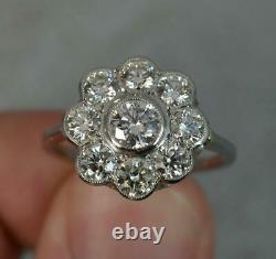 VS 1.6ct Diamond & 18ct White Gold Daisy Cluster Ring in Bezel Setting D0422