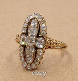 VTG Antique Victorian Old Mine Rose Cut Diamond 18K Yellow Gold Ring Size 7 LJC2